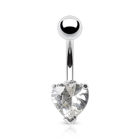Crystal Heart Solitaire Belly Rings. Petite and Mega Heart Gems.