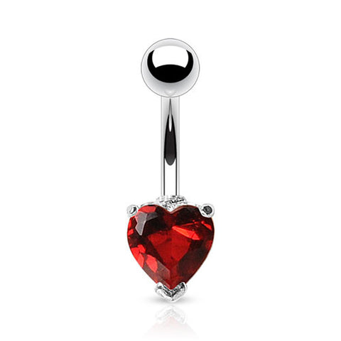 Heart Solitaire Navel Bar - Fixed (non-dangle) Belly Bar. Navel Rings Australia.