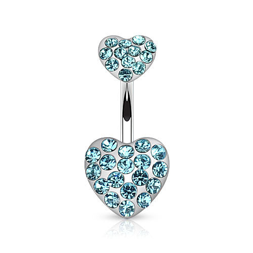 Duo CZ Paved Heart Belly Ring - Fixed (non-dangle) Belly Bar. Navel Rings Australia.