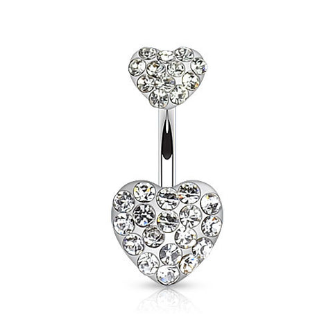 Crystal Duo CZ Paved Heart Belly Ring