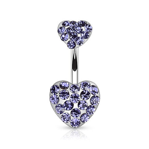 Tanzanite Duo CZ Paved Heart Belly Ring