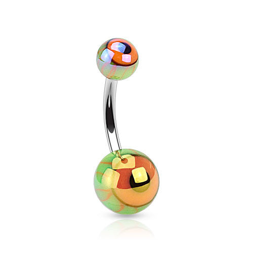Basic Curved Barbell. Belly Rings Australia. Metallic Eyeball Acrylic Navel Rings