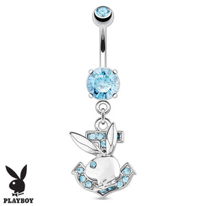 Official Playboy Bunny Anchor Belly Button Bar - Dangling Belly Ring. Navel Rings Australia.