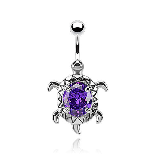 Amazon Sea Turtle Belly Ring - Fixed (non-dangle) Belly Bar. Navel Rings Australia.