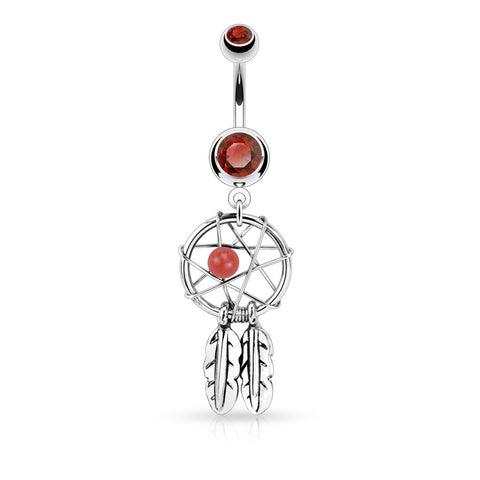 Red Dreamcatcher Belly Piercing Ring