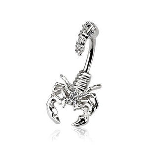 Desert Scorpion Split Belly Ring - Split Spinal Belly Bar. Navel Rings Australia.