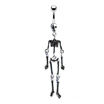 Dangling Belly Ring. Navel Rings Australia. Glow in the Dark Moving Skeleton Belly Ring