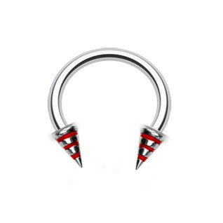 Trio Stripe Spike Circular Belly Piercing Ring - Circular Barbell / Horse Shoe. Navel Rings Australia.