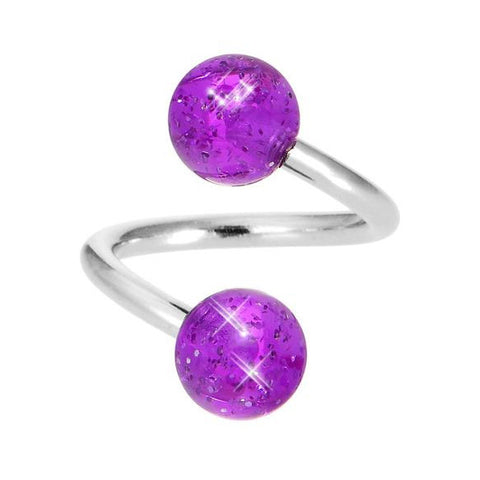 Amethyst Glitter Ball Spiral Twist Navel Bars