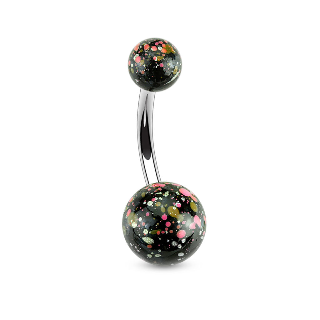 Basic Curved Barbell. Belly Bars Australia. Splatter Ball Belly Button Bars