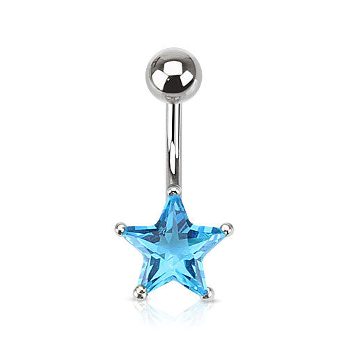 Fixed (non-dangle) Belly Bar. Belly Bars Australia. Star Solitaire Belly Ring. Petite and Mega Star Gems