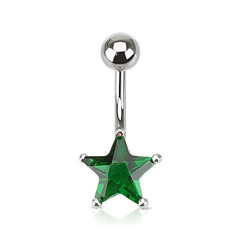 Emerald Star Solitaire Belly Ring. Petite and Mega Star Gems