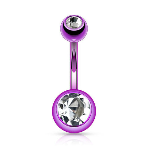 Amethyst Titanium Plated Gem Navel Bars