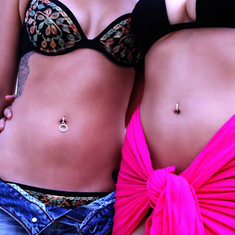 TummyToys® Silver CZ Paved Sleeper Belly Ring Jewellery. - TummyToys® Patented Clasp. Navel Rings Australia.