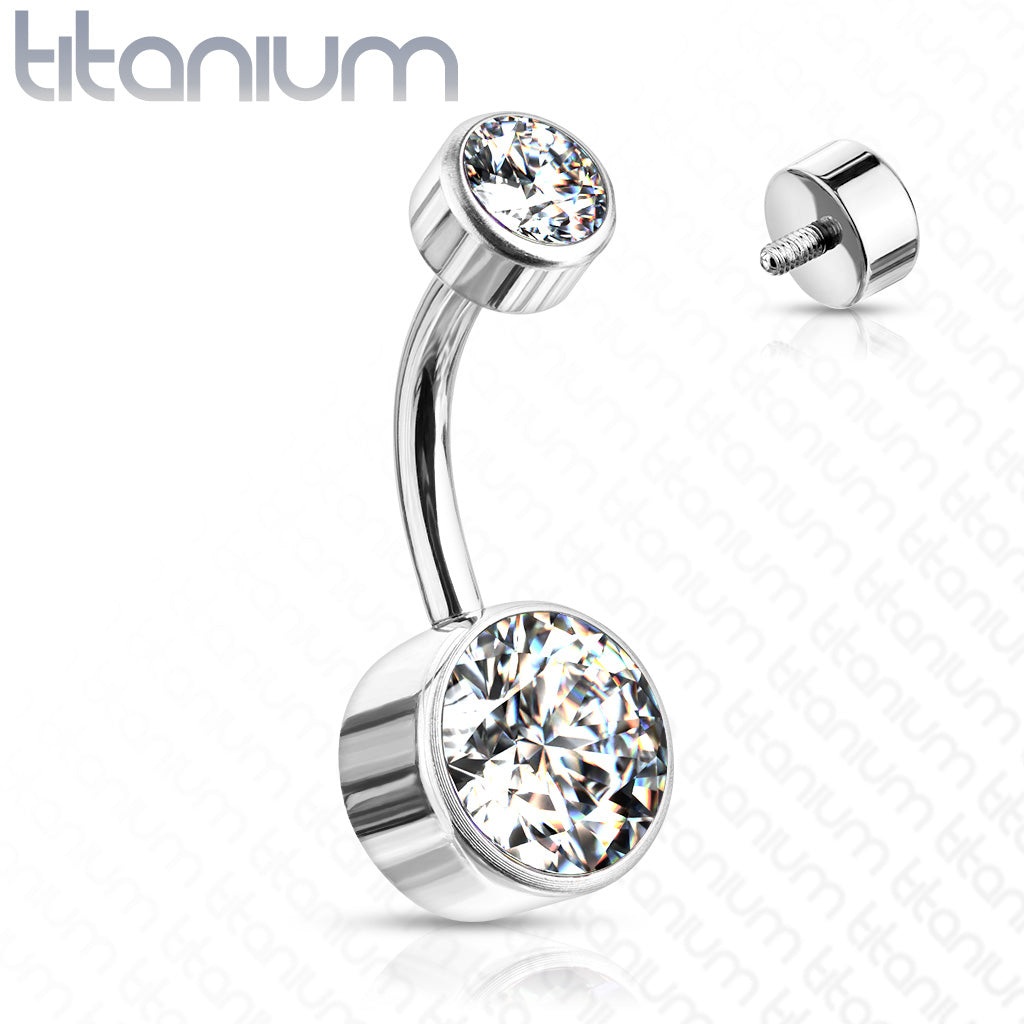 Basic Curved Barbell. Cute Belly Rings. Titanium Internally Threaded Flat Gem Belly Rings