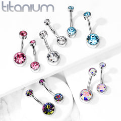 Titanium Internally Threaded Flat Gem Belly Rings