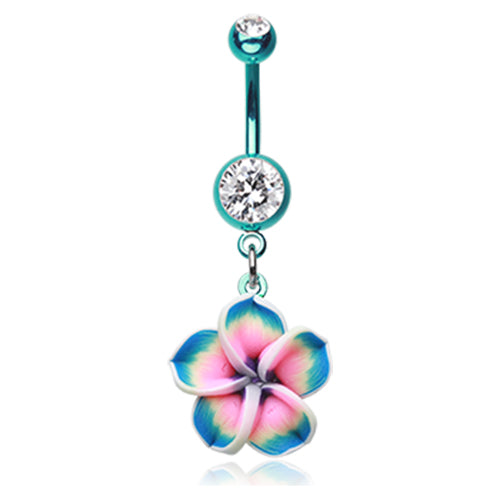 Ocean Metals Frangipani Belly Bar - Dangling Belly Ring. Navel Rings Australia.