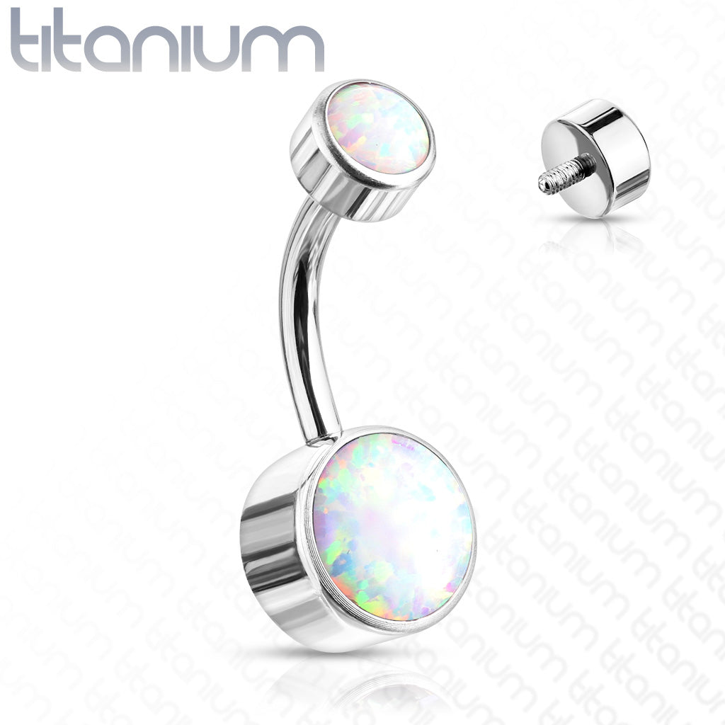 Opal Navel Jewelry Titanium Belly Ring Curved Barbell Earring Belly Button Jewelry Body Piercing Jewelry Belly Jewelry