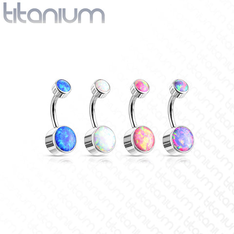 Titanium Internally Threaded Opal Belly Bars