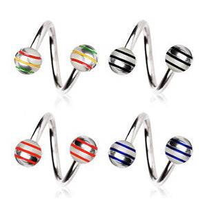 Titanium Striped Twist Belly Piercing Jewellery - Spiral Twister Twistie. Navel Rings Australia.