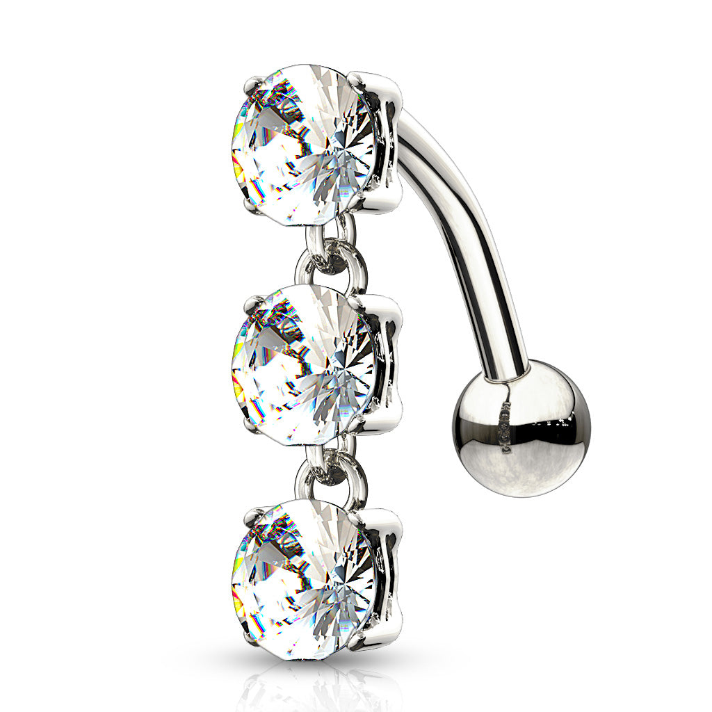 14K White Gold Reverse Gem Chain Belly Bar - Reverse Top Down Belly Ring. Navel Rings Australia.
