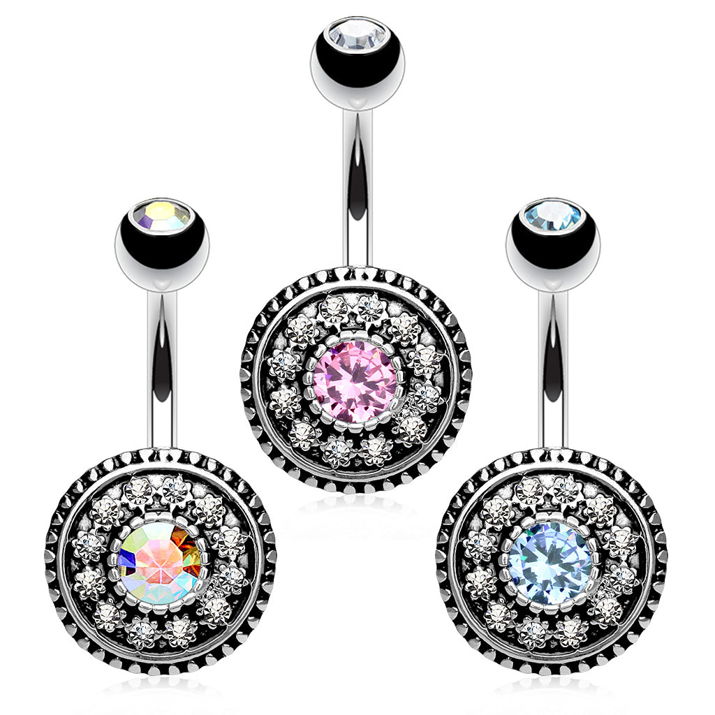 Toto Boho Belly Piercing - Fixed (non-dangle) Belly Bar. Navel Rings Australia.