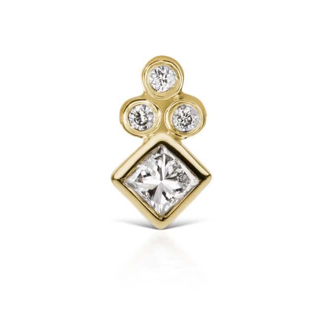 Princess Cut Four Diamond Trinity Earring by Maria Tash in 18K Yellow Gold. Flat Stud. - Earring. Navel Rings Australia.