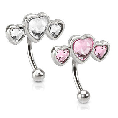 Reverse Top Down Belly Ring. Buy Belly Rings. 16G Trio Of Hearts Belly Piercing