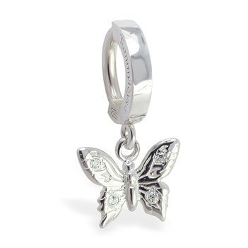 TummyToys® Patented Clasp. Navel Rings Australia. TummyToys® Silver Panache Butterfly Belly Sleeper