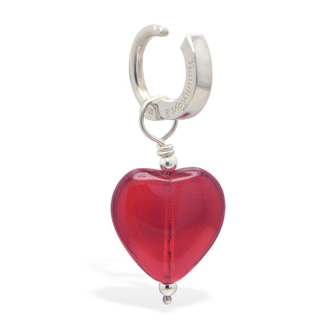 TummyToys® Dangly Red Heart Swinger Charm - TummyToys® Swinger Charm. Navel Rings Australia.