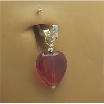 TummyToys® Swinger Charm. High End Belly Rings. TummyToys® Dangly Red Heart Swinger Charm
