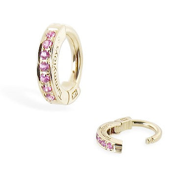 TummyToys® 14K Gold Pink Sapphire Sleeper - TummyToys® Patented Clasp. Navel Rings Australia.