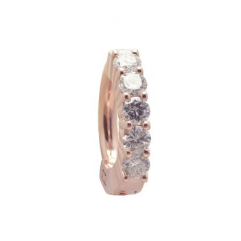 TummyToys® Solid Rose Gold with 5 Real Diamonds - TummyToys® Patented Clasp. Navel Rings Australia.