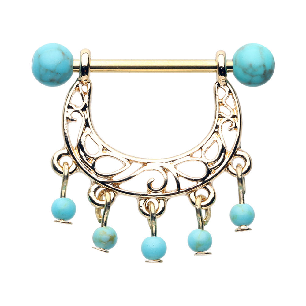 Turquoise Chandelier Bead Nipple Ring in Gold - Nipple Ring. Navel Rings Australia.