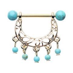 Turquoise Chandelier Bead Nipple Ring in Gold