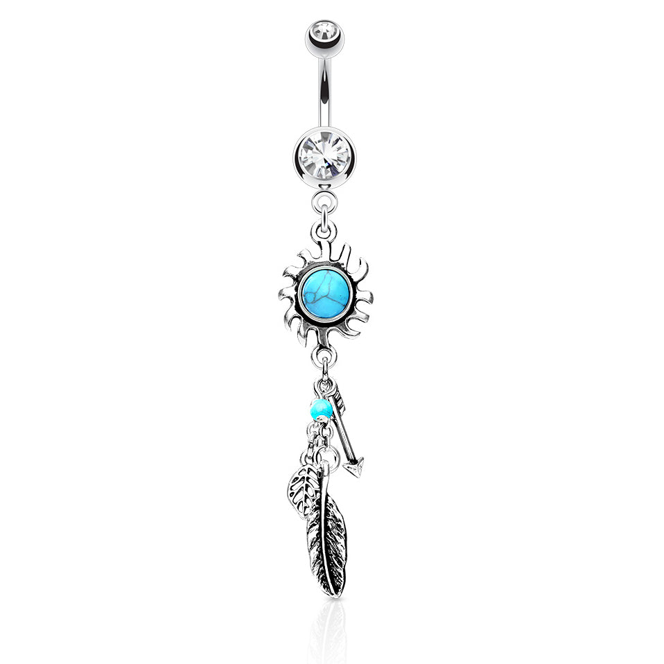 Dangling Belly Ring. Quality Belly Rings. Sunburst Dreams Dangly Navel Rings