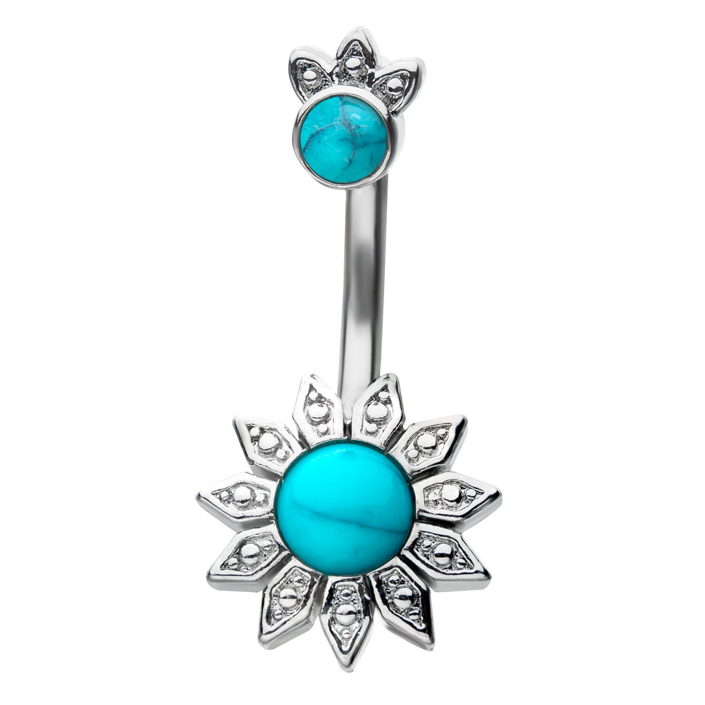 Zialaya Crowned Turquoise Belly Bar - Split Spinal Belly Bar. Navel Rings Australia.