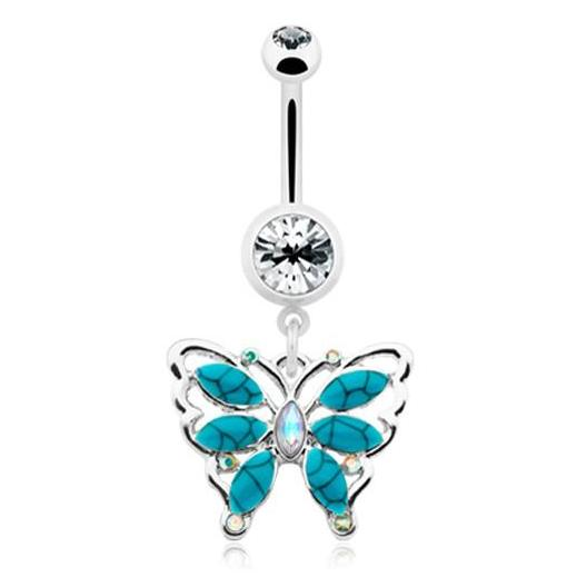 Bella Turquoise Flutter Belly Bar - Dangling Belly Ring. Navel Rings Australia.