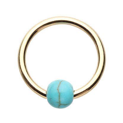 16g Gold Turquoise Captive Bead Rings - Captive Belly Ring. Navel Rings Australia.