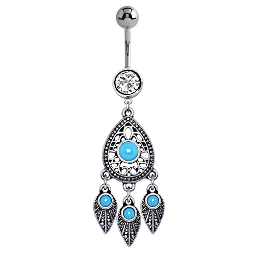 Turquoise Spells Dream Catcher Belly Bar - Dangling Belly Ring. Navel Rings Australia.