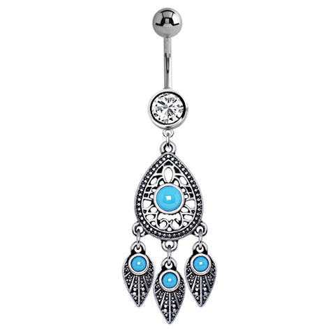 Dangling Belly Ring. High End Belly Rings. Turquoise Spells Dream Catcher Belly Bar
