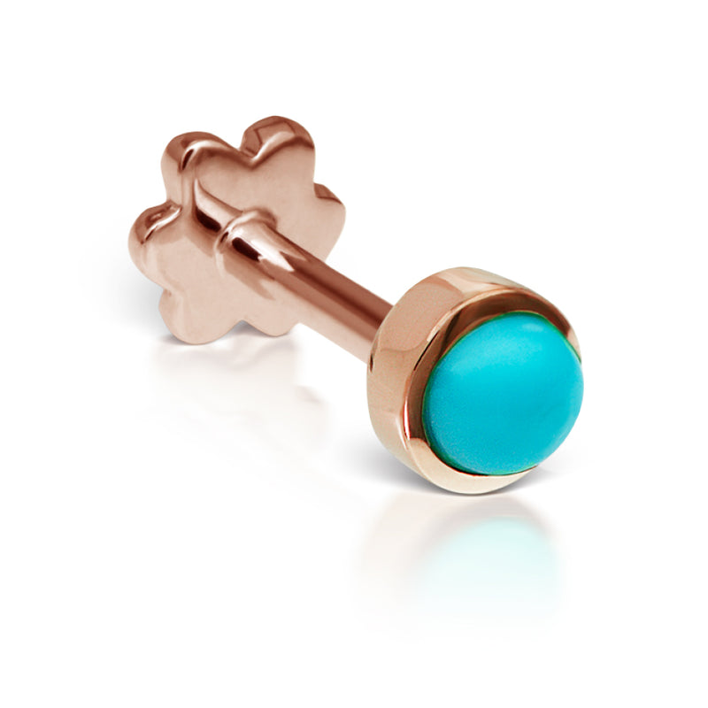 4mm Turquoise Earring by Maria Tash in 14K Rose Gold. Threaded Stud. - Earring. Navel Rings Australia.