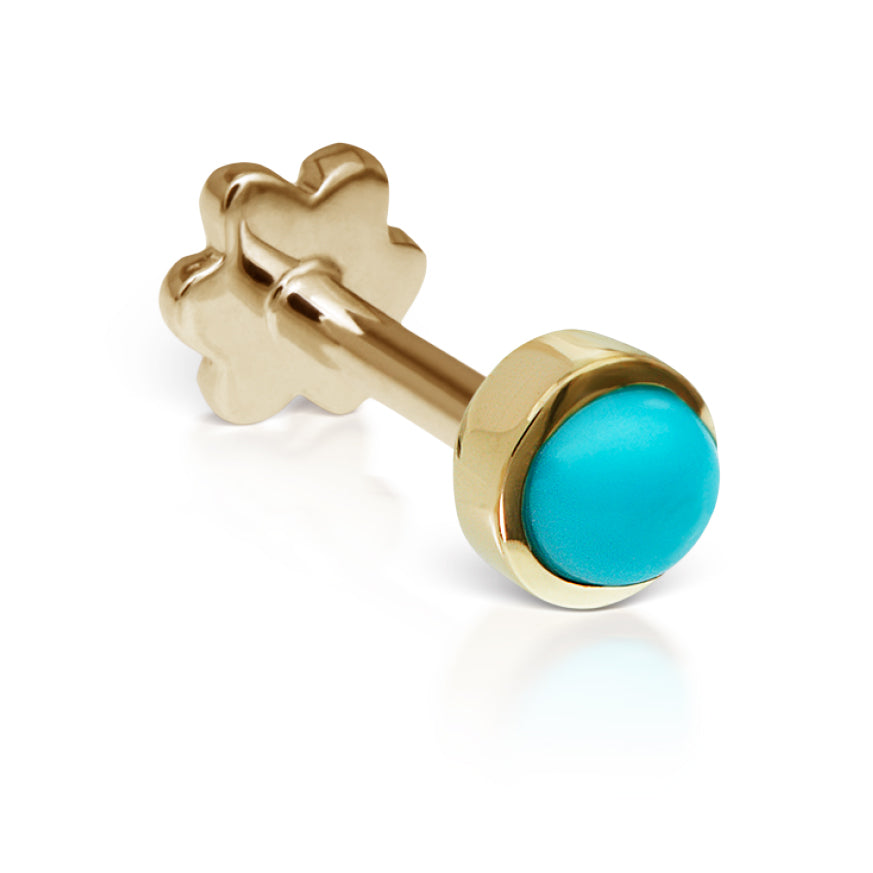 4mm Turquoise Earring by Maria Tash in 14K Yellow Gold. Threaded Stud. - Earring. Navel Rings Australia.