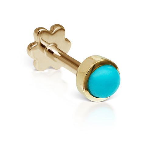 4mm Turquoise Earring by Maria Tash in 14K Yellow Gold. Threaded Stud.