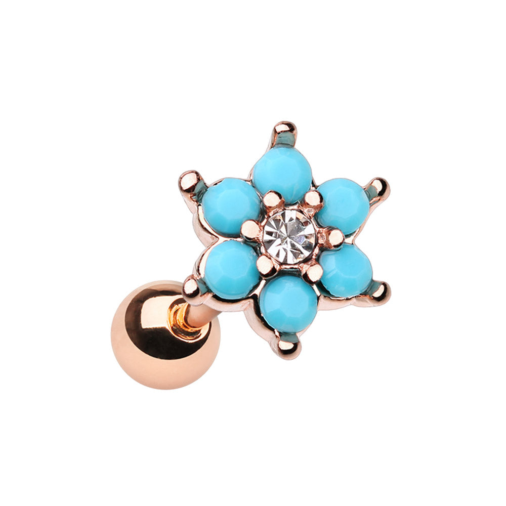Turquoise Flower Burst Earring in Rose Gold. Tragus and Cartilage Jewellery. - Earring. Navel Rings Australia.