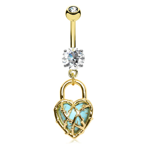 Dangling Belly Ring. Navel Rings Australia. Mimi's Locked Turquoise Love Heart Belly Bar