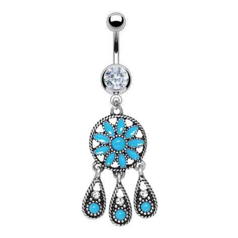 Fixed (non-dangle) Belly Bar. Navel Rings Australia. Turquoise Dream Chandelier Belly Bar