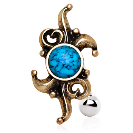 Reverse Top Down Belly Ring. Buy Belly Rings. Gitana Turquoise Reverse Belly Rings