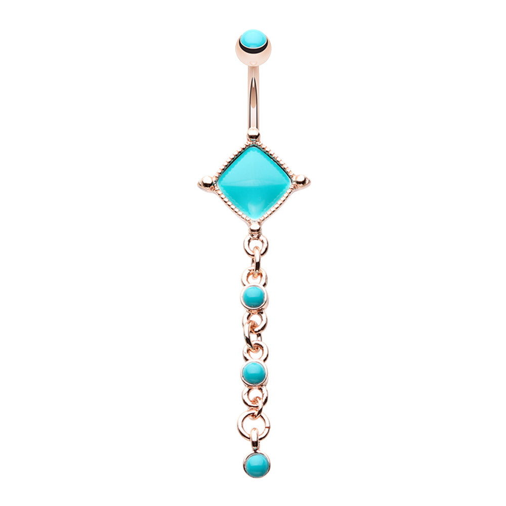 Arabian Princess Belly Ring in Rose Gold - Dangling Belly Ring. Navel Rings Australia.