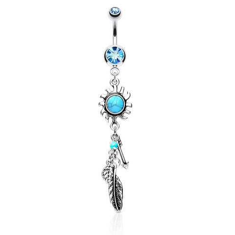 Sunburst Dreams Dangly Navel Rings - Dangling Belly Ring. Navel Rings Australia.